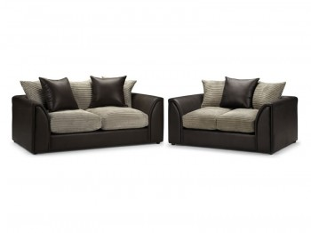 Reccer 3 and 2 Seater Sofa Suite_brown