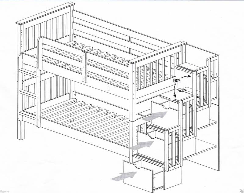 Staircase bunk bed bristol beds divan beds pine beds for Bunk beds with stairs uk