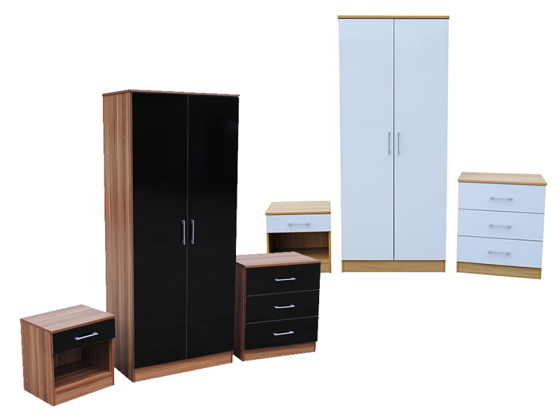 vegas high gloss 3 piece bedroom set white or black