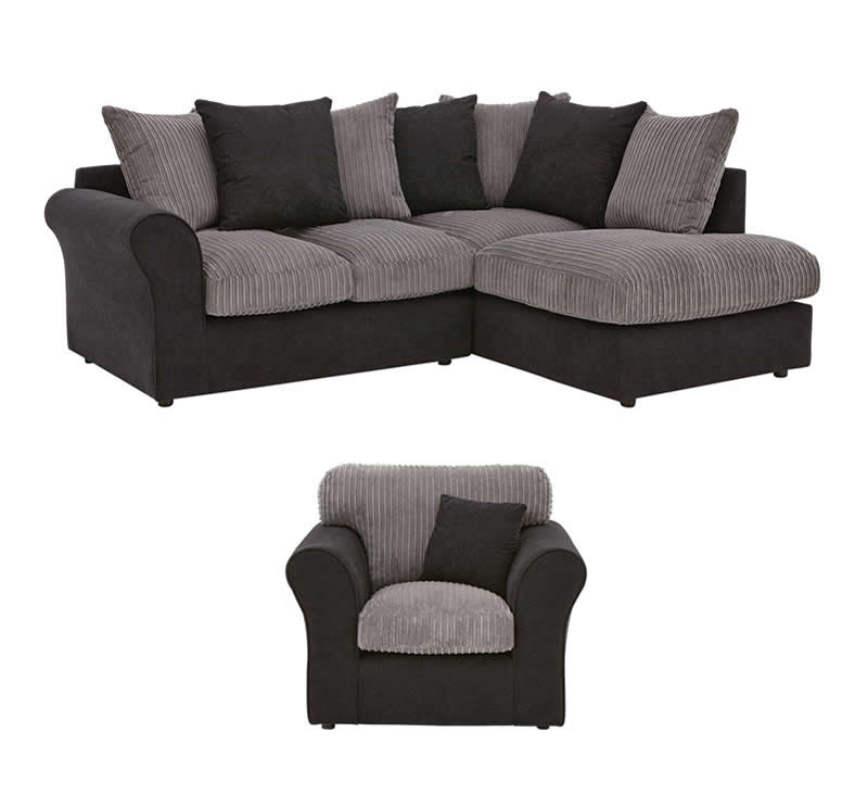 Zayne Right Hand Fabric Compact Corner Chaise Sofa And