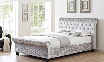 Crushed Velvet Glitz Sleigh Bed