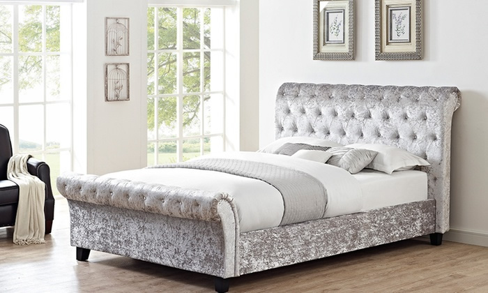 Crushed Velvet Glitz Sleigh Bed
